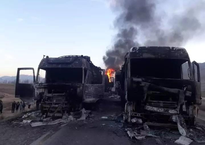 Oil tanker set on fire by Taliban