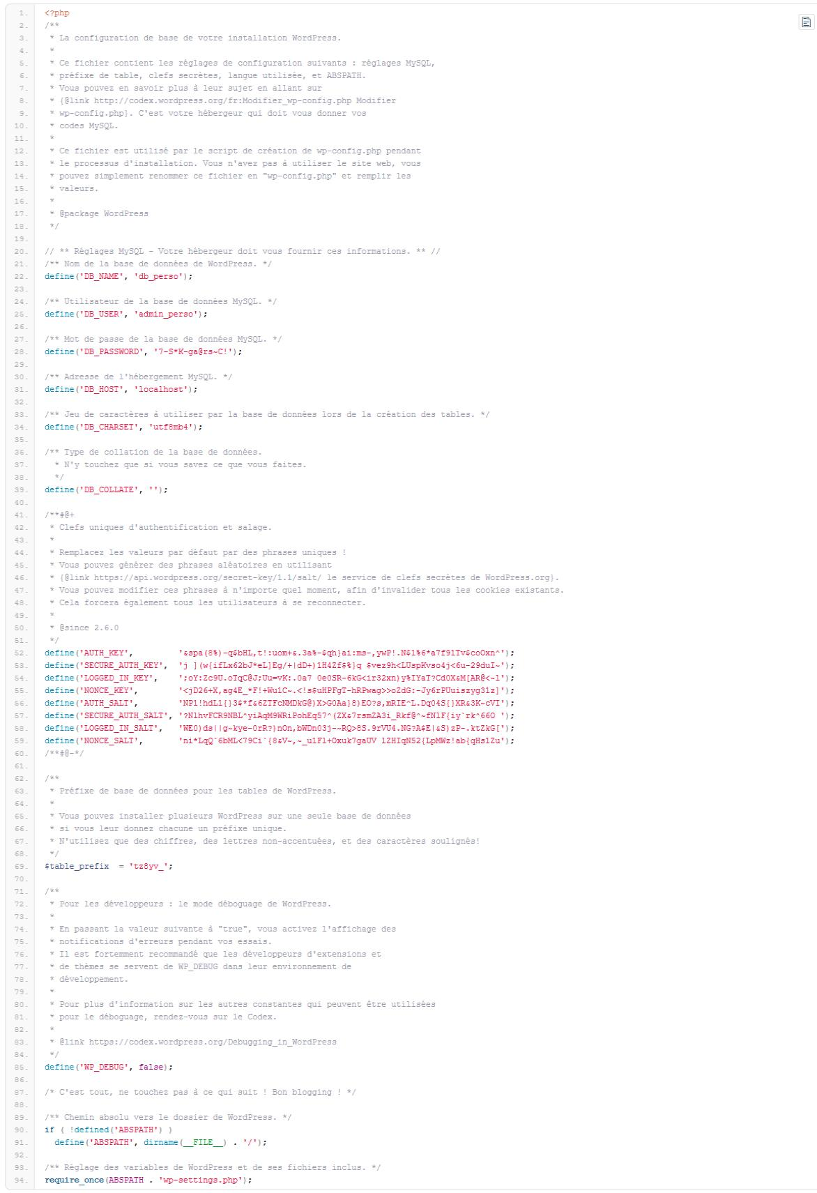 fichier wp_config.php