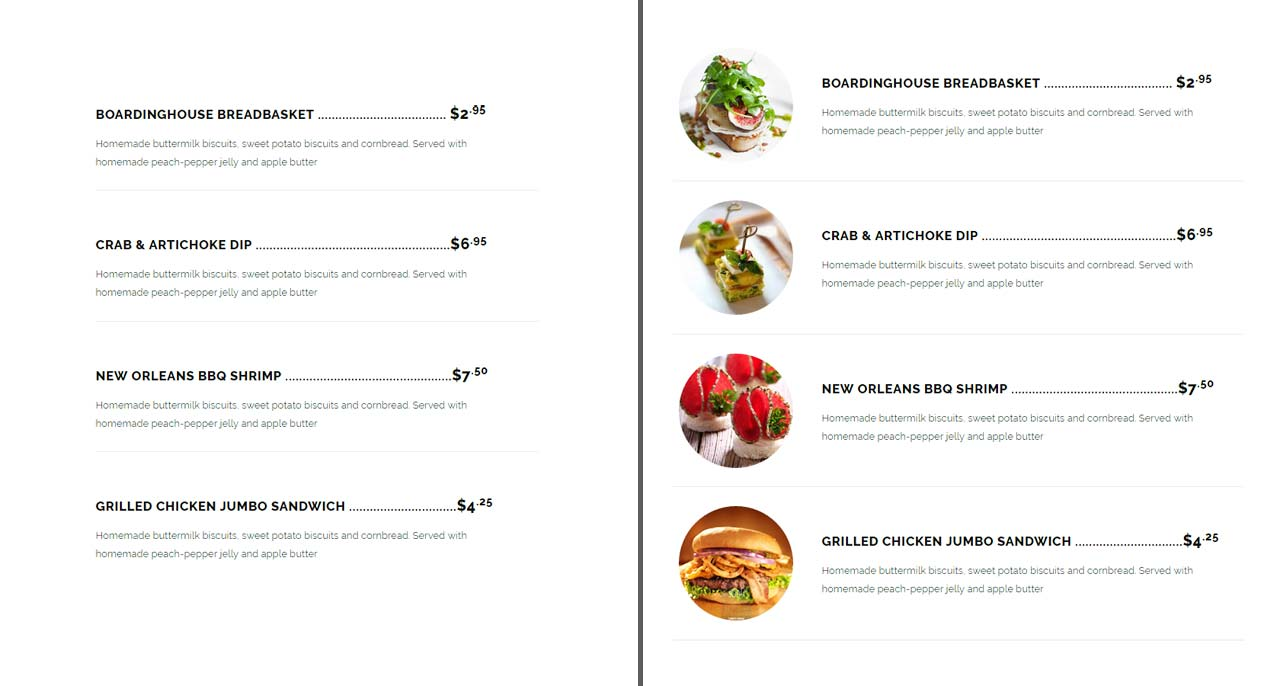 un menu texte comparé à un menu illustré