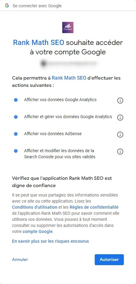 Rank Math - demande d'autorisation Google