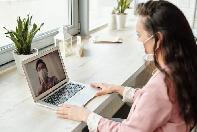 woman having a video call