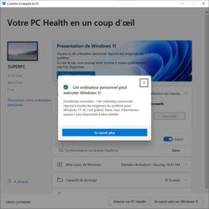 Windows 11 PC Health Santé compatible