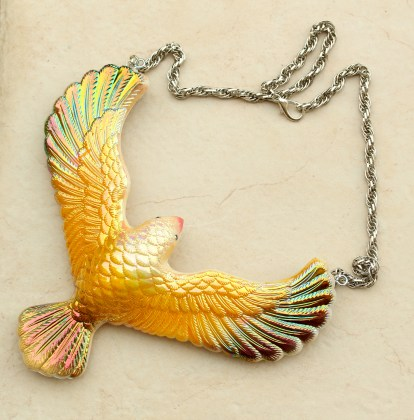 Balancing Eagle Necklace - available in gold and blue