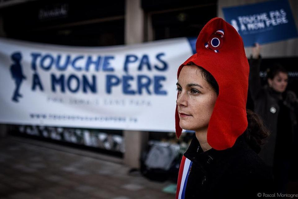A far right demonstration against medically assisted procreation. A woman was wearing a Marianne, the symbol of France. #politics #extreme #far #right #pma #marianne #france #symbol #deminstration #procreation #instalike #instadaily