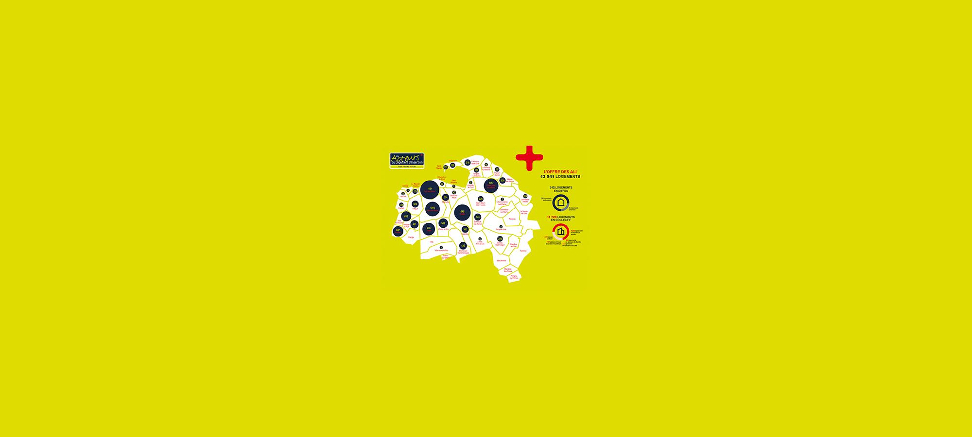 Infographiste Rouen Pascal Ridel - bannière cartographie offre de logements d'insertion