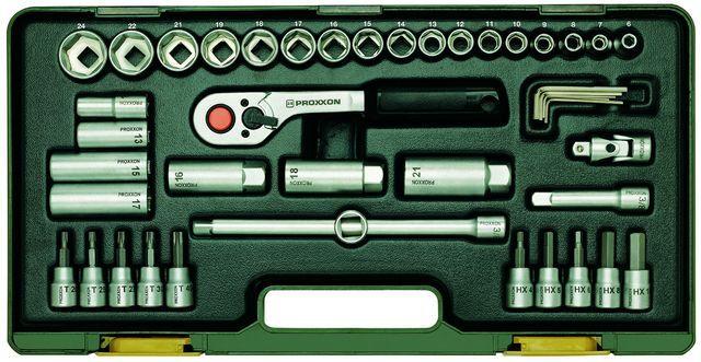 PROXXON №23282 Компактный набор инструмента со средней флажковой трещоткой на 3/8
