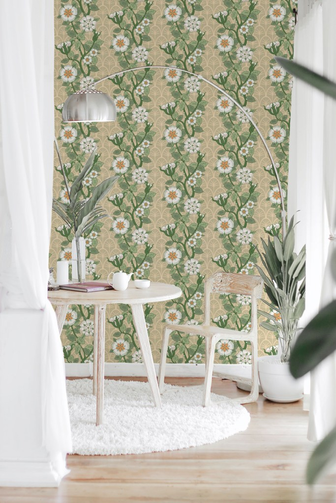 Jimena, pattern design created by Pascûal applied on a wallpaper mockup
