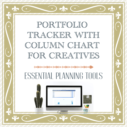 PORTFOLIO TRACKER WITH COLUMN CHART. RESOURCES FOR CREATIVES