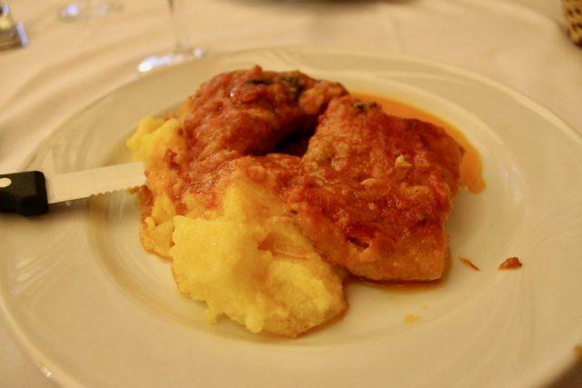 Bacalao al horno con polenta Ristorante Settimio Roma