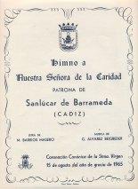 Portada de la edición impresa que mandó hacer la Hermandad de la Caridad del Himno a la Virgen en 1965, con motivo de la coronación canónica.