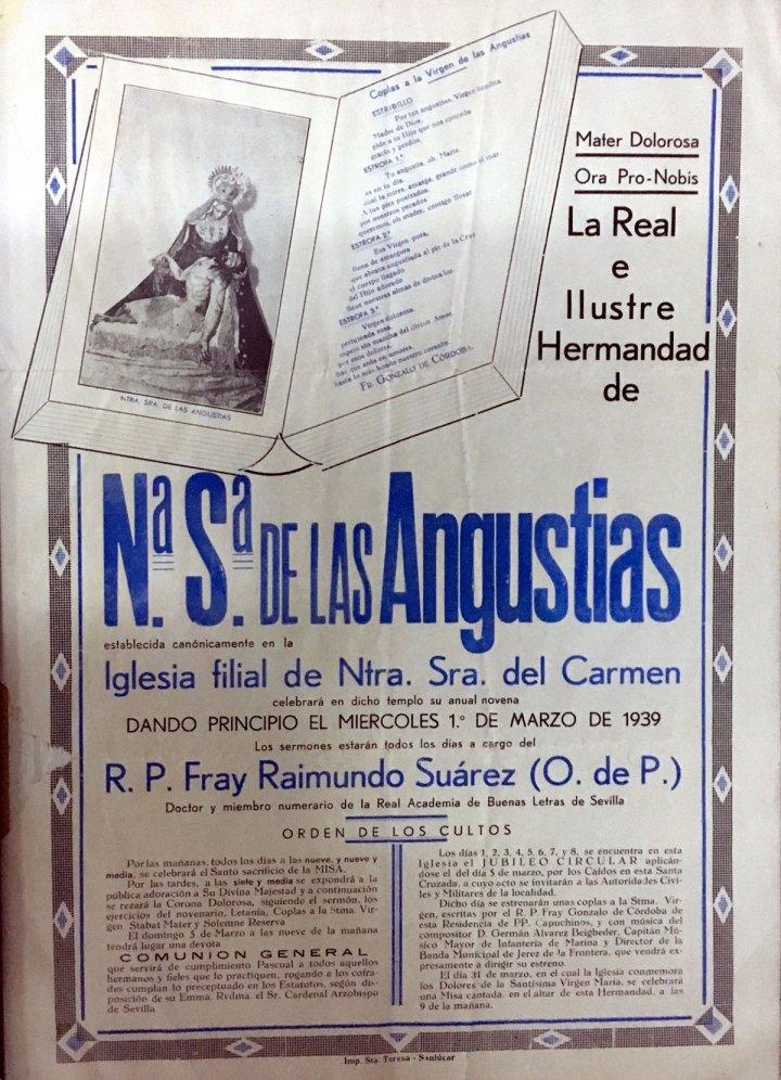 Cartel donde se anuncia el estreno de las Coplas dedicadas a las Angustias (1939). | Ilustración: Hermandad de las Angustias