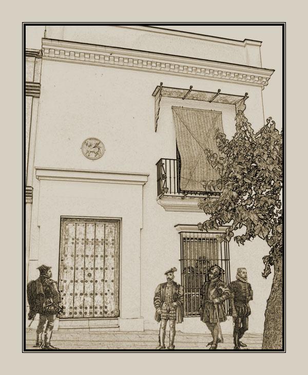 Recreación de la antigua Casa del Cabildo de Sanlúcar (Plaza de la Paz, frente a la parroquia mayor) en el siglo XVI.