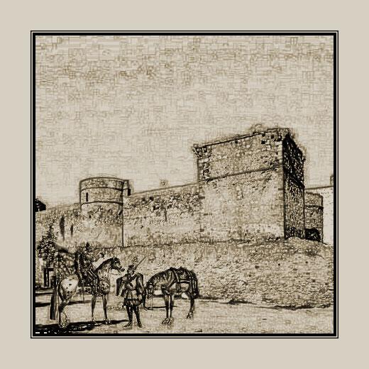 Vigilantes a las puertas del camino de Sevilla (actual calle Sevilla), junto al Castillo de Santiago.