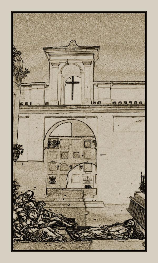 Además de a la desaparecida ermita y cementerio de san Sebastián, los enfermos de peste fueron llevados a la actual ermita y cementerio de san Antón. | Ilustración: José María Hermoso