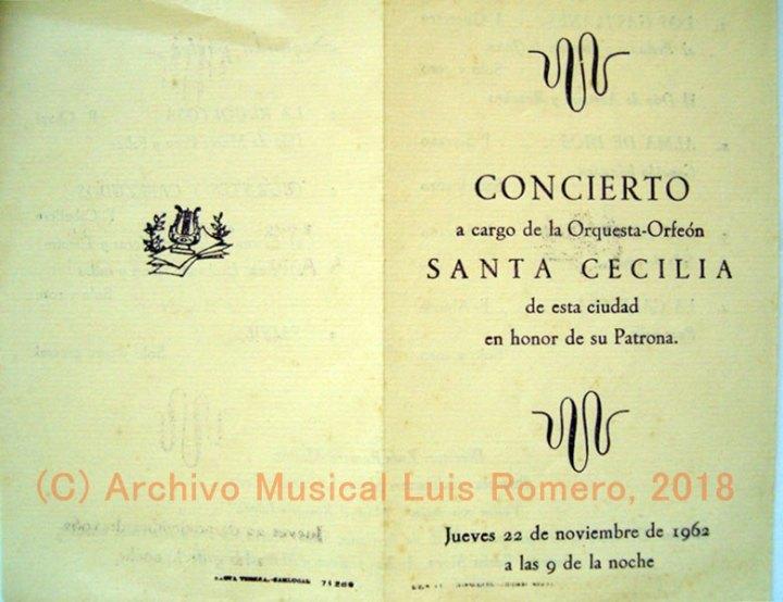 Programa de mano del concierto en honor a santa Cecilia que ofrecería la Orquesta y Orfeón Santa Cecilia en el año 1962.