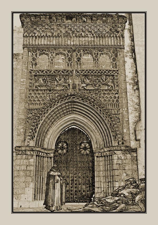 Los enfermos de peste acudían desesperados a la puerta de la parroquia mayor, donde un sacerdote les daba la extremaunción.