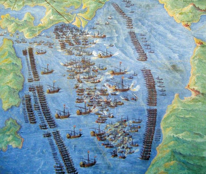 Bertelli, Ferdinando. Batalla naval de Lepanto, 1572. Museo Storico Navale, Venecia (Italia).