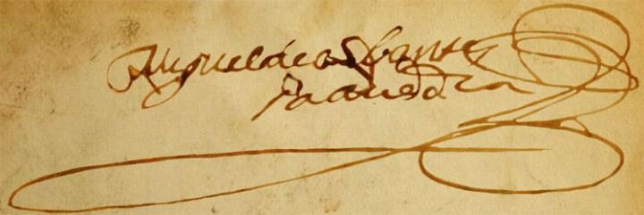 Firma de Miguel de Cervantes y Saavedra en el documento de otorgamiento de poderes a Juan de Balbuena conservado en el Archivo Histórico Provincial de Sevilla.