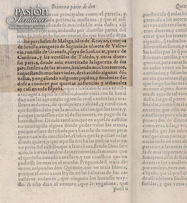 Mención a Sanlúcar en el capítulo III de El Quijote.