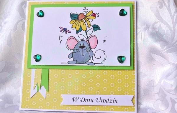 Kartka urodzinowa – dziecięca z myszką