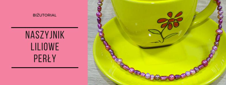 Biżutorial - Naszyjnik Liliowe perły, perełki słodkowodne