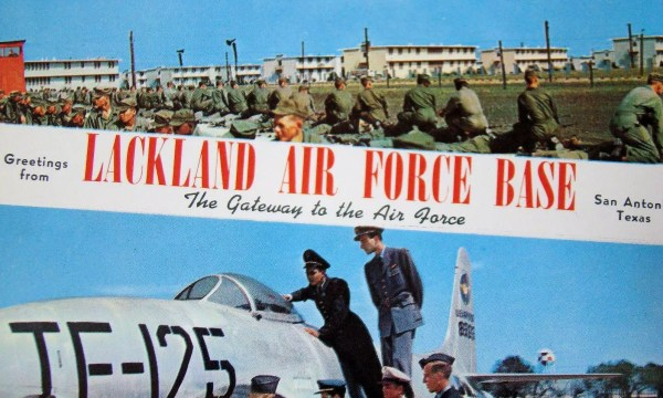 Source: https://commons.wikimedia.org/wiki/File:Lackland_Air_Force_Base_-_Greetings_From_Lackland_AFB.jpg