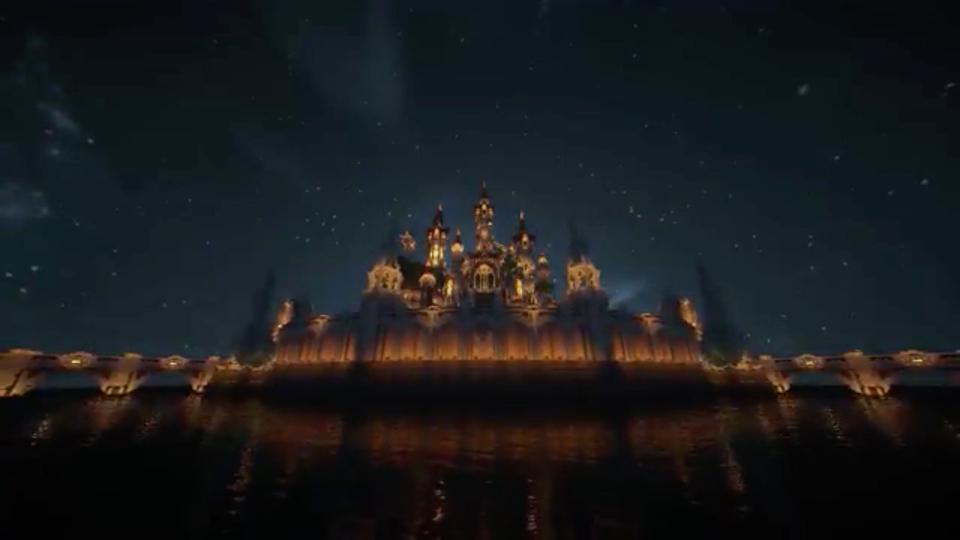 四角い世界に海にきらめく魔法の城を築いてみた-06
