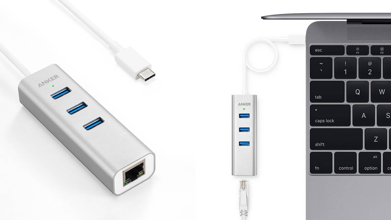 Anker USB-C to 3-Port USB 3.0 Hub with Ethernet Adapter