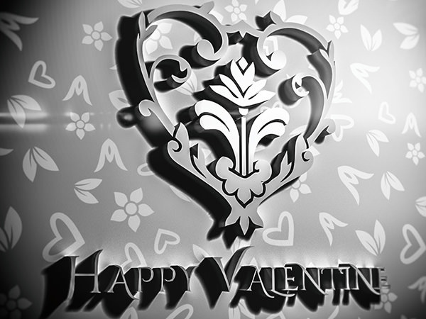 Happy Valentine1 Type5 / 3D ロゴ & テキスト(シルバーエフェクト)