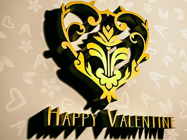Happy Valentine2 Type2 / 3D ロゴ & テキスト(チョコレートエフェクト)