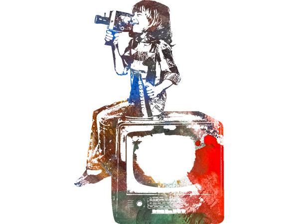 Movie Kids Painting1 / 映画を撮る少年(ペイント1)