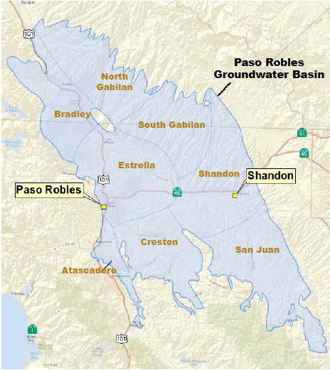 map of the Paso Robles Groundwater Basin