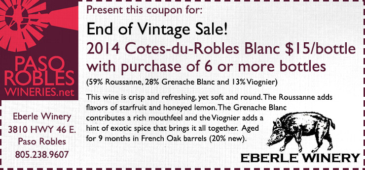 Eberle Winery End of Vintage Sale