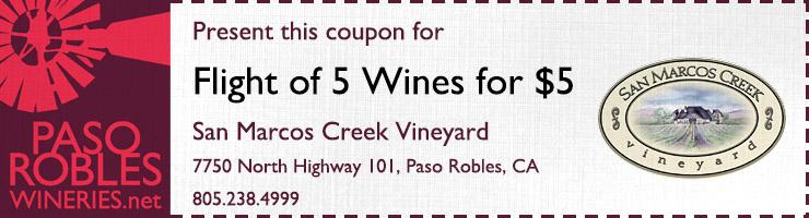 San Marcos Creek Vineyard 5 Flights for 5 Dollars Coupon