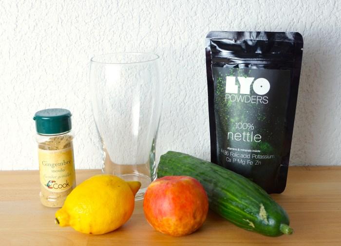 Lyopowder lyofood poudre lyophilysé smoothie drink boissons fruits recette ingrédient cru biologique ortie gingembre