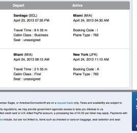 Promoção American Airlines – Passagens em classe Executiva dos EUA para América do Sul por apenas R$1.762,00