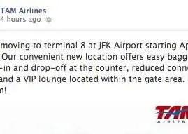 TAM vai mudar para o Terminal 8 no Aeroporto JFK em Nova York e reforça rumores de sua ida pra oneworld