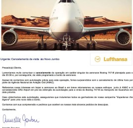 ANAC cancela de última hora vinda do Boeing 747-800 da Lufthansa ao Brasil amanhã
