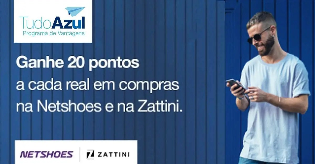 07a5d0699 TudoAzul oferece 20 pontos por real gasto na Netshoes e Zattini - Passageiro  de Primeira