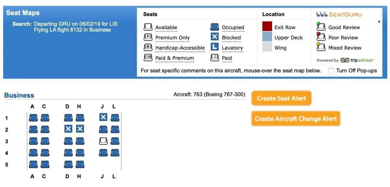 mapa de assentos executiva 767 latam