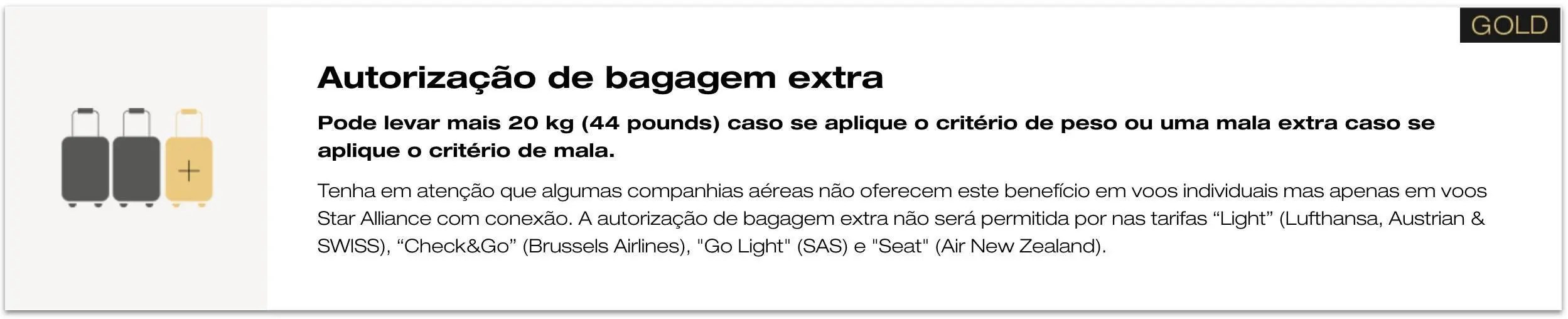 Bagagem extra Star Alliance Gold
