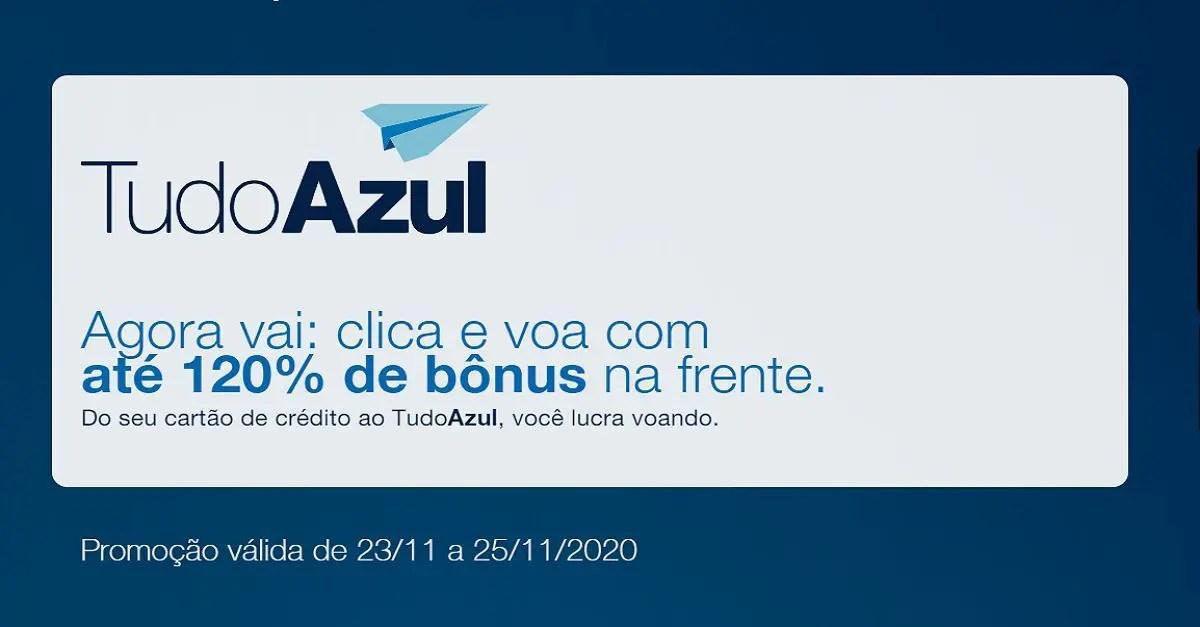 tudoazul 120% bônus cartões de crédito