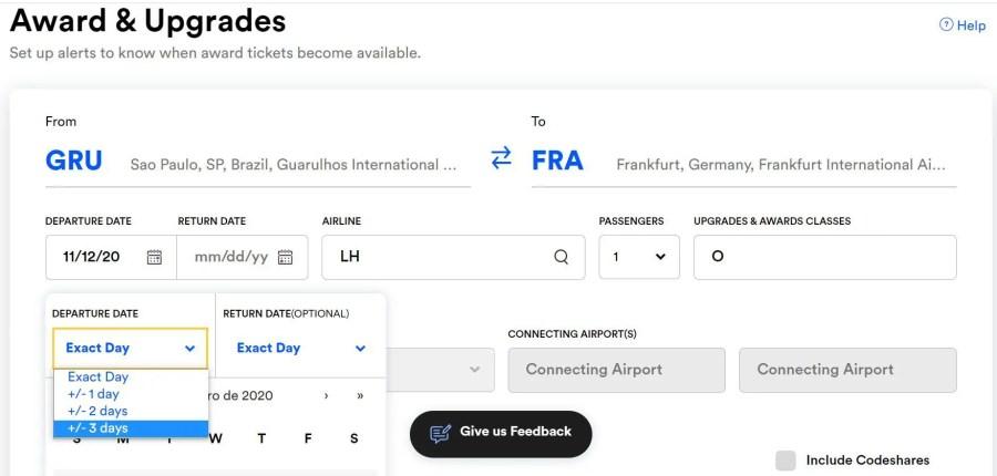 busca tela de disponibilidade por milhas e upgrades ExpertFlyer