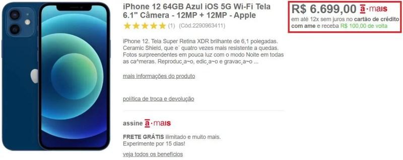 meliuz cashback iphone 12