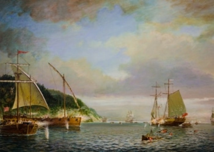 Battle of Valcour Island. Painting by Ernie Haas. Courtesy of the Lake Champlain Maritime Museum www.lcmm.org.