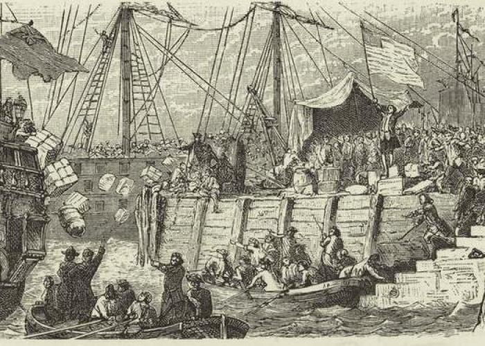 Boston Tea Party. Courtesy of New York Public Library.
