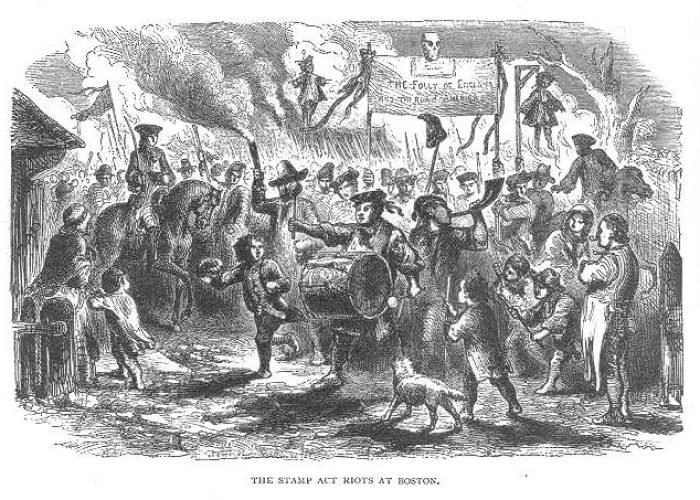 Stamp Act Riots of 1765.  Courtesy of Library of Congress.