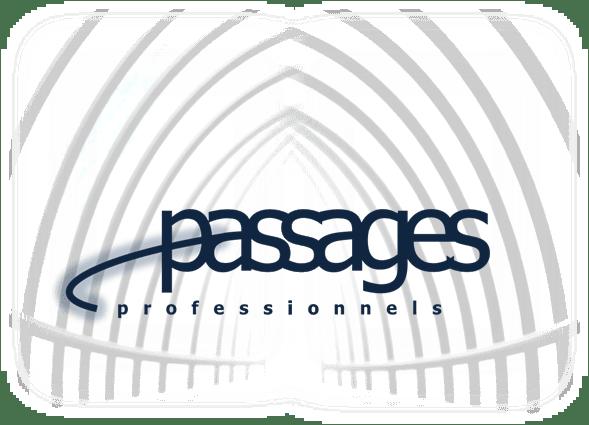Passages hallway white white blue logo