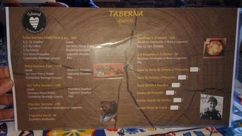 Ementa da taberna Talasnal