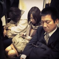 Texting & sleeping     by Fran Simó japan, passengers, tokyo, ubiquography,